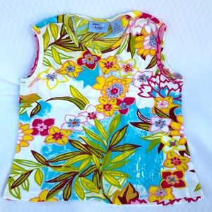 Jane Ashley Med Tropical Sleeveless Top w/Sequins
